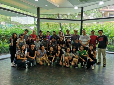 Team building indoor group photo
